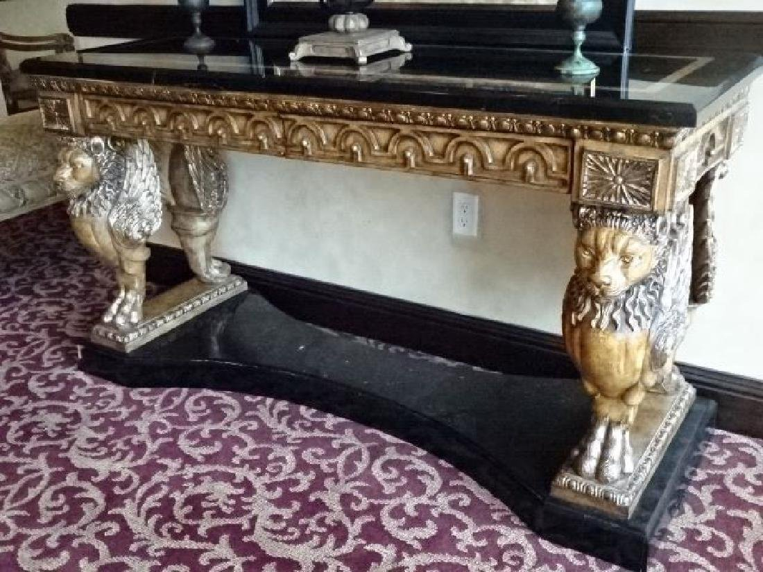 FRENCH EMPIRE STYLE WINGED LION CONSOLE TABLE, - 5