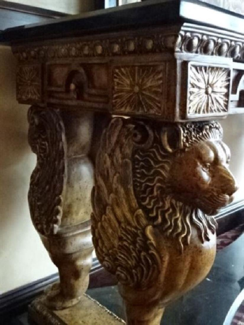 FRENCH EMPIRE STYLE WINGED LION CONSOLE TABLE, - 6