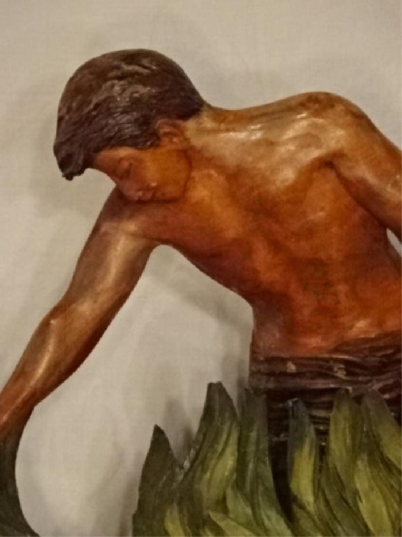LARGE CARVED WOOD SCULPTURE, MAN AND WOMAN IN TROPICAL - 3