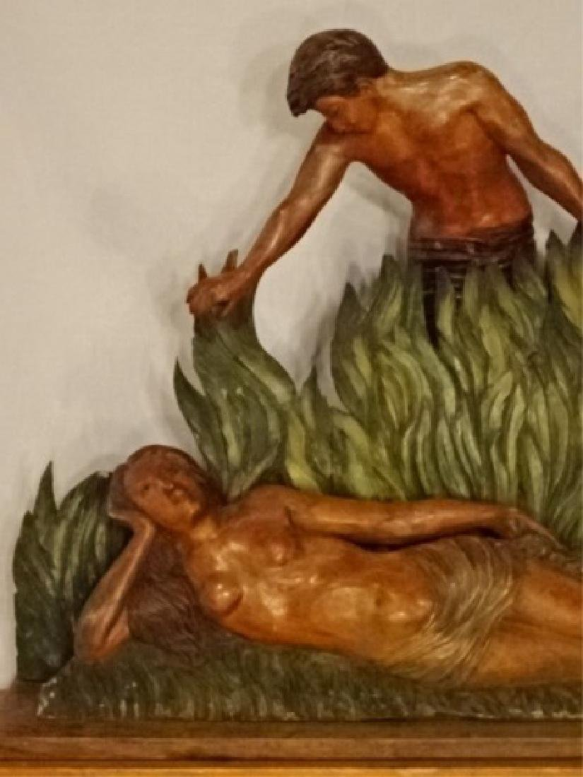 LARGE CARVED WOOD SCULPTURE, MAN AND WOMAN IN TROPICAL - 6