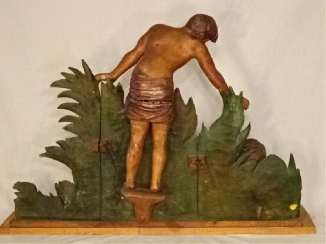 LARGE CARVED WOOD SCULPTURE, MAN AND WOMAN IN TROPICAL - 7