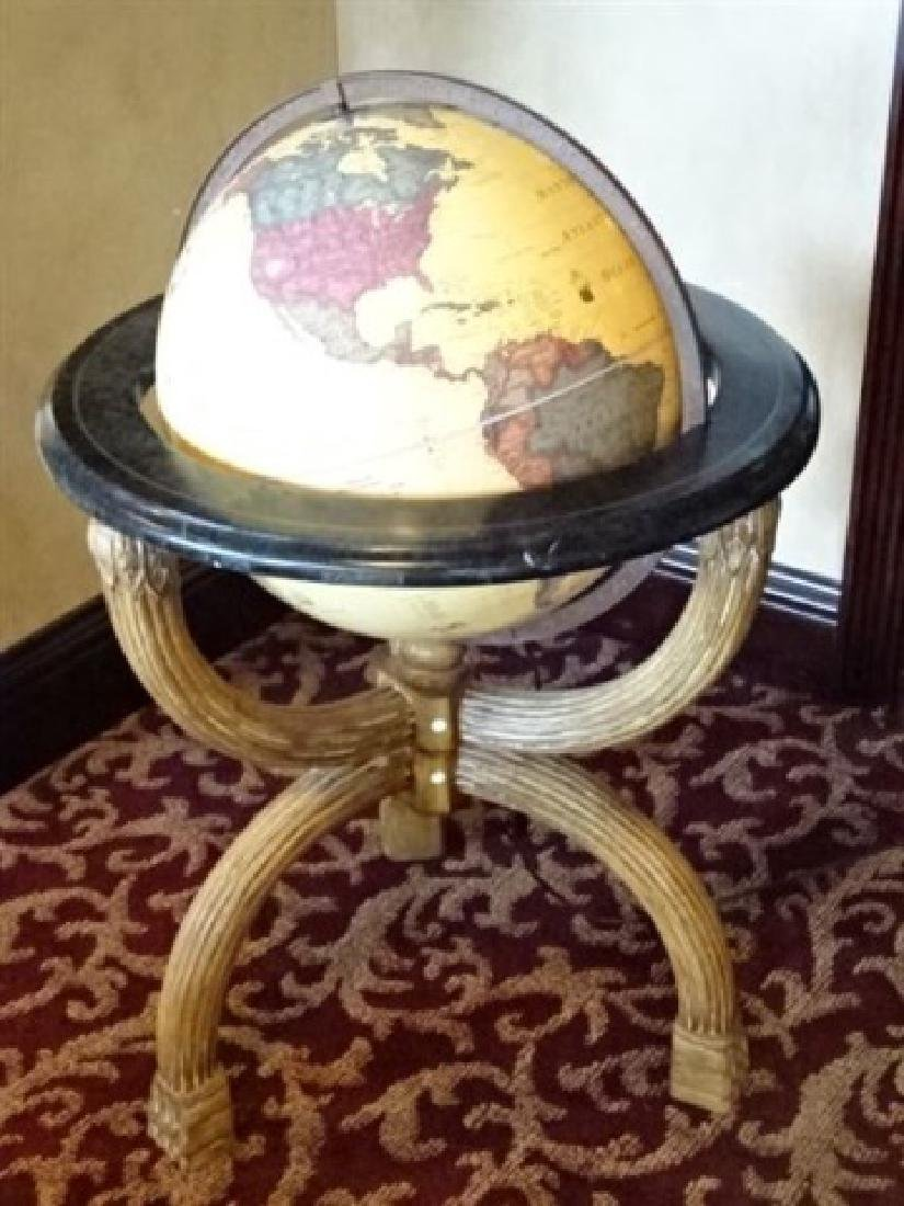 LIGHTED GLOBE OF THE WORLD ON WOOD STAND, VERY GOOD