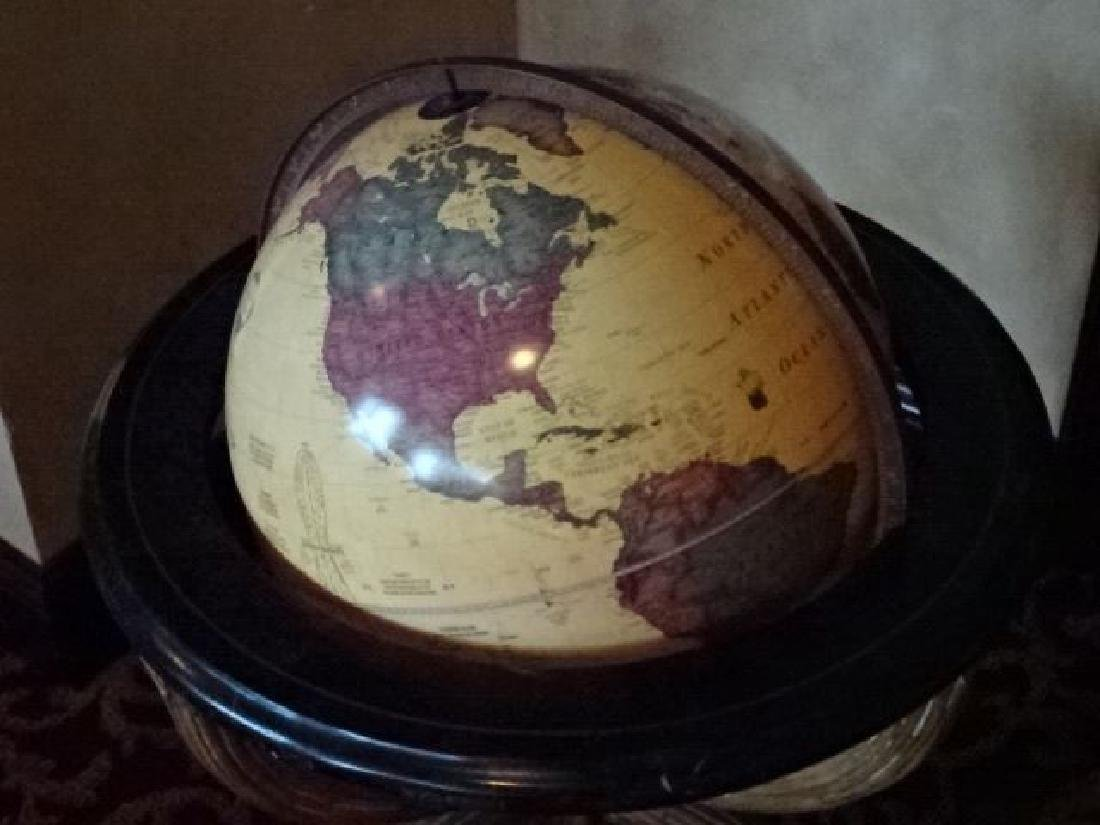 LIGHTED GLOBE OF THE WORLD ON WOOD STAND, VERY GOOD - 2