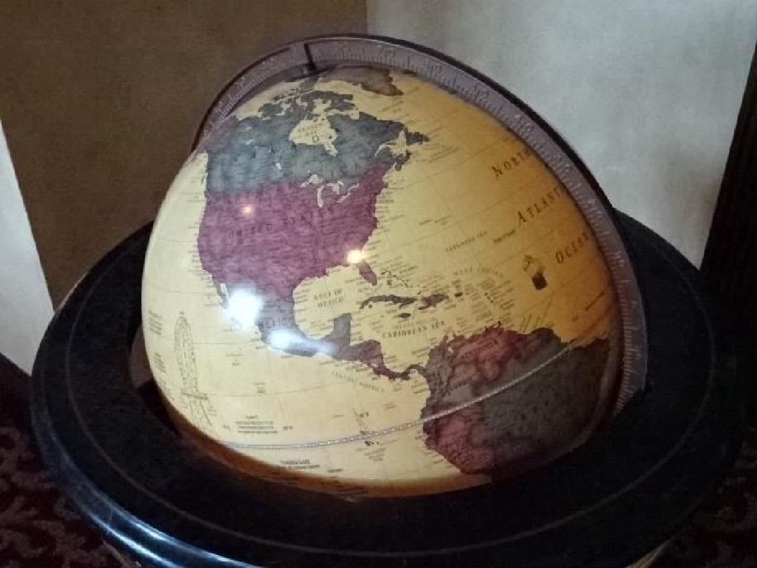 LIGHTED GLOBE OF THE WORLD ON WOOD STAND, VERY GOOD - 5