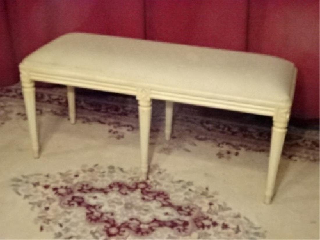 LOUIS XVI STYLE BENCH, WHITE FINISH, FLUTED LEGS, - 2
