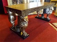FRENCH EMPIRE STYLE WINGED LION WRITING DESK GILT EMBO