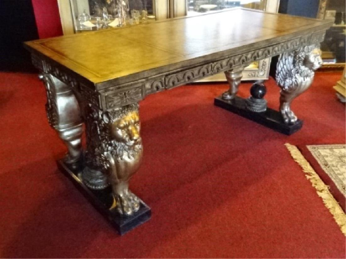 FRENCH EMPIRE STYLE WINGED LION WRITING DESK, GILT EMBO - 2