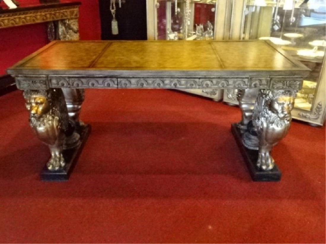 FRENCH EMPIRE STYLE WINGED LION WRITING DESK, GILT EMBO - 5