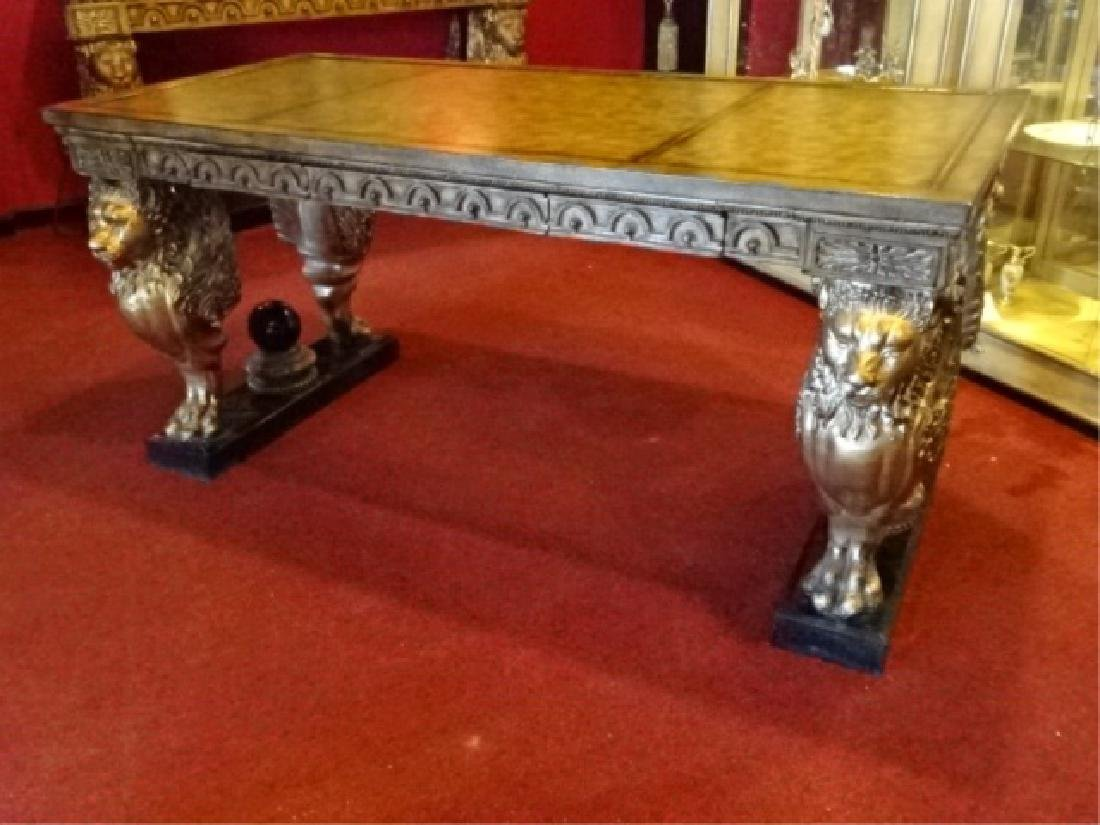 FRENCH EMPIRE STYLE WINGED LION WRITING DESK, GILT EMBO - 6