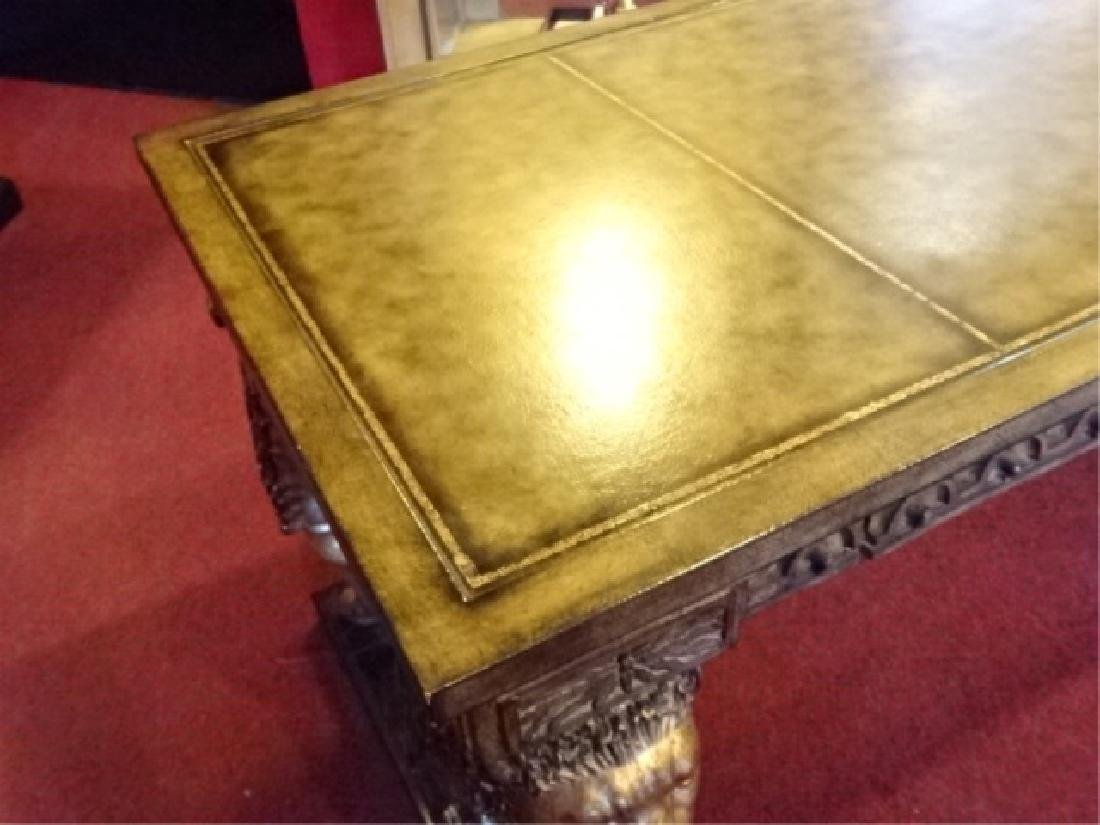 FRENCH EMPIRE STYLE WINGED LION WRITING DESK, GILT EMBO - 8