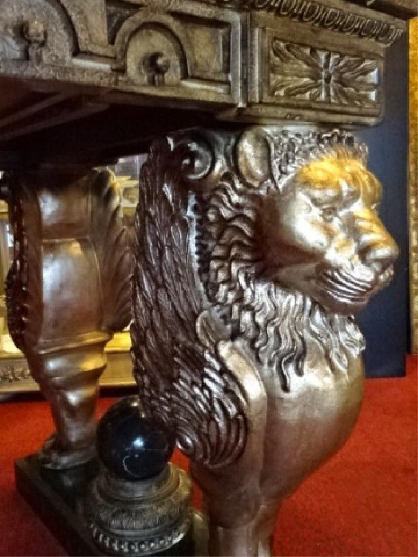 FRENCH EMPIRE STYLE WINGED LION WRITING DESK, GILT EMBO - 9
