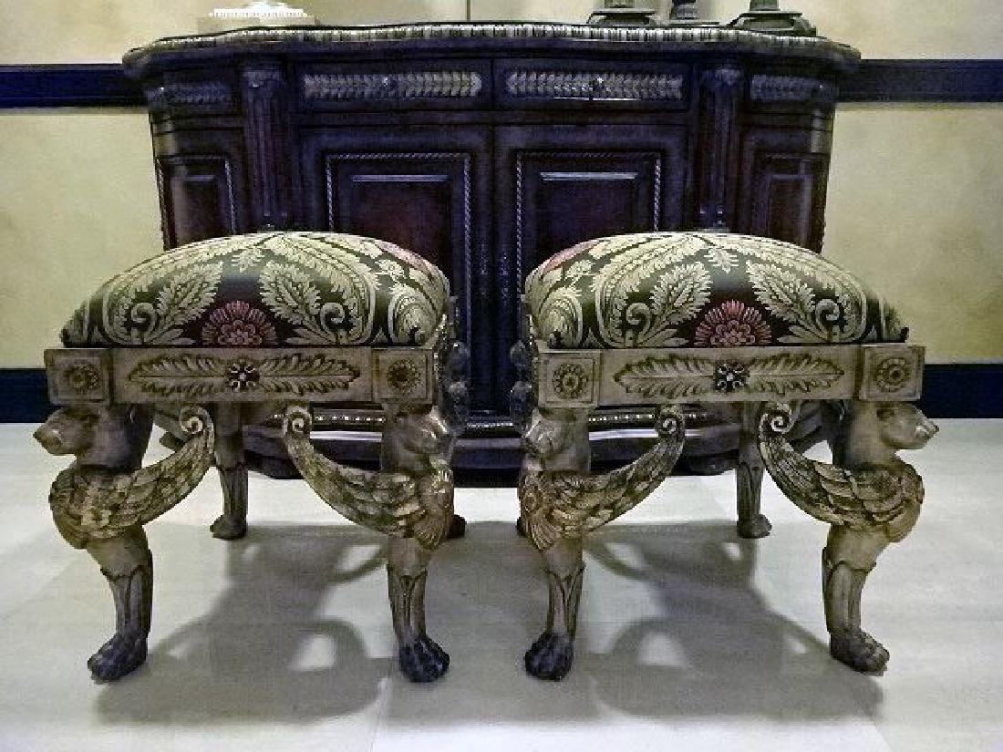 PAIR ORNATE GRIFFIN BASE OTTOMANS, SILVER / GOLD
