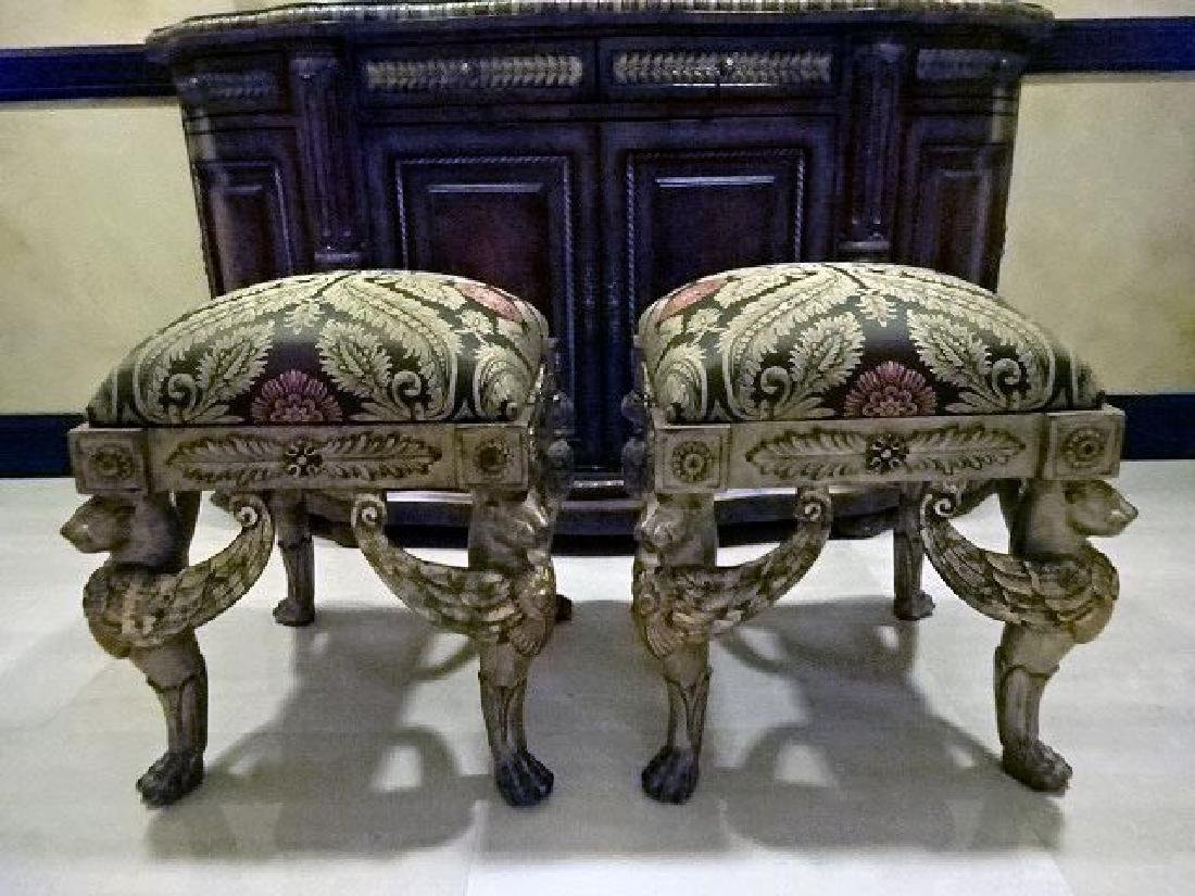 PAIR ORNATE GRIFFIN BASE OTTOMANS, SILVER / GOLD - 2