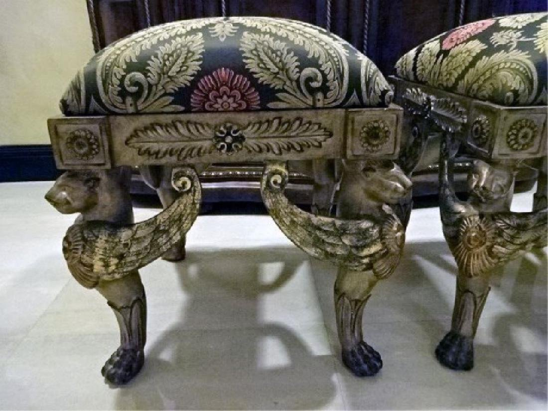PAIR ORNATE GRIFFIN BASE OTTOMANS, SILVER / GOLD - 4