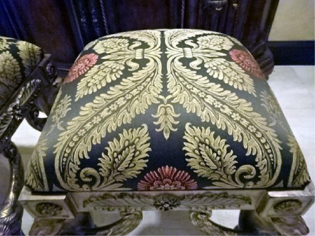 PAIR ORNATE GRIFFIN BASE OTTOMANS, SILVER / GOLD - 7