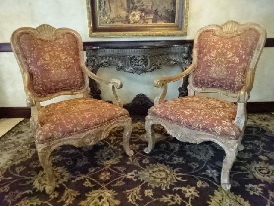 PAIR ROCOCO OPEN ARM CHAIRS, LIGHT FINISH WOOD FRAMES,