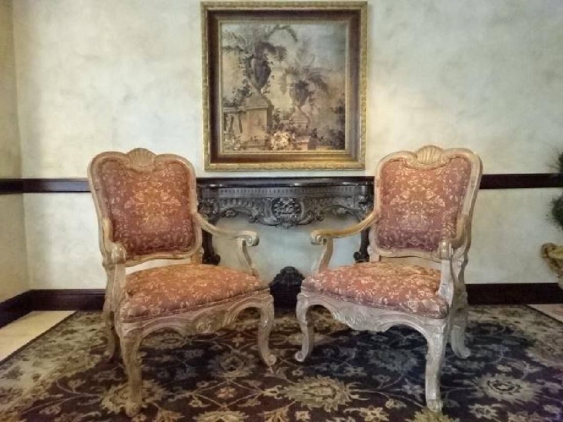 PAIR ROCOCO OPEN ARM CHAIRS, LIGHT FINISH WOOD FRAMES, - 2