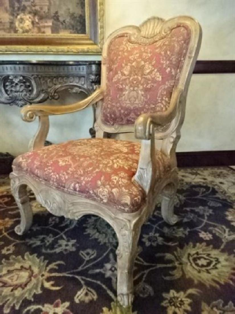 PAIR ROCOCO OPEN ARM CHAIRS, LIGHT FINISH WOOD FRAMES, - 4