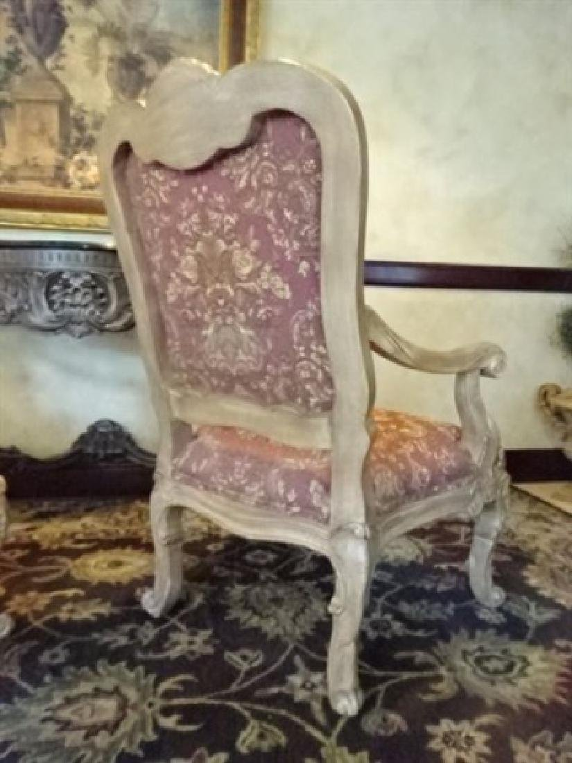 PAIR ROCOCO OPEN ARM CHAIRS, LIGHT FINISH WOOD FRAMES, - 5