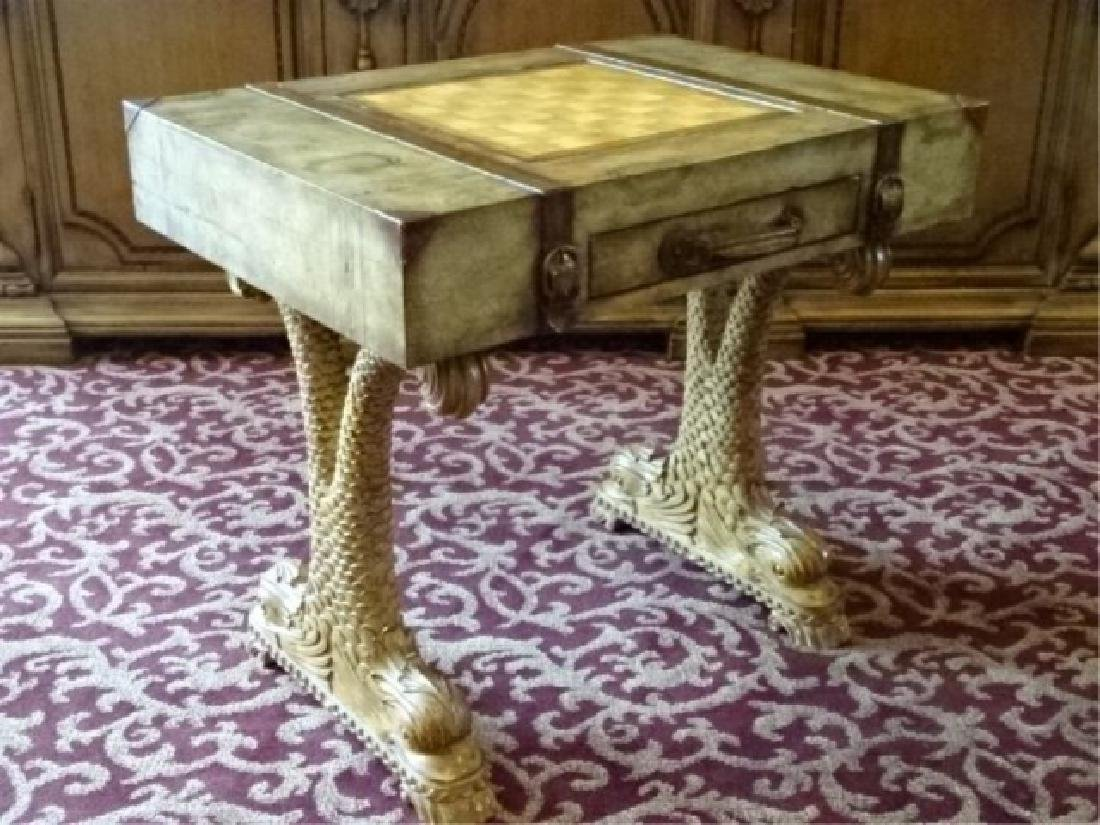 WOOD GAME TABLE, CLASSICAL DOLPHIN LEGS, SUITCASE MOTIF