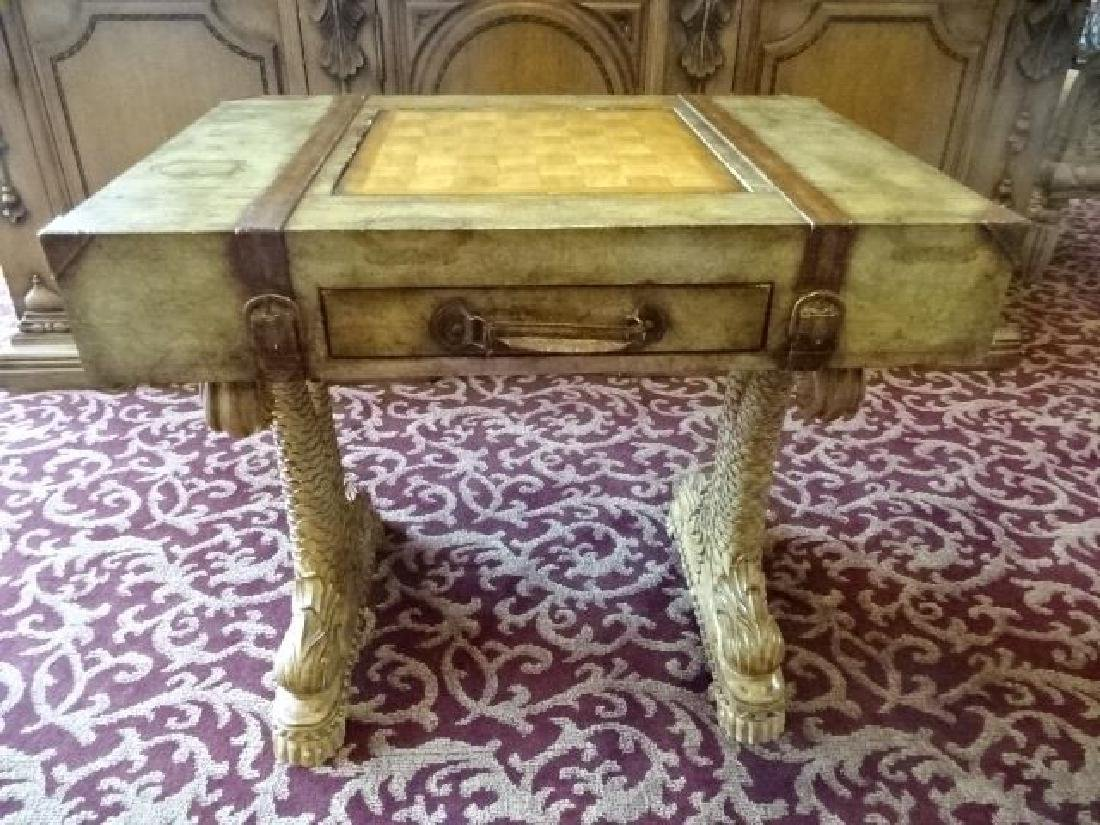 WOOD GAME TABLE, CLASSICAL DOLPHIN LEGS, SUITCASE MOTIF - 2