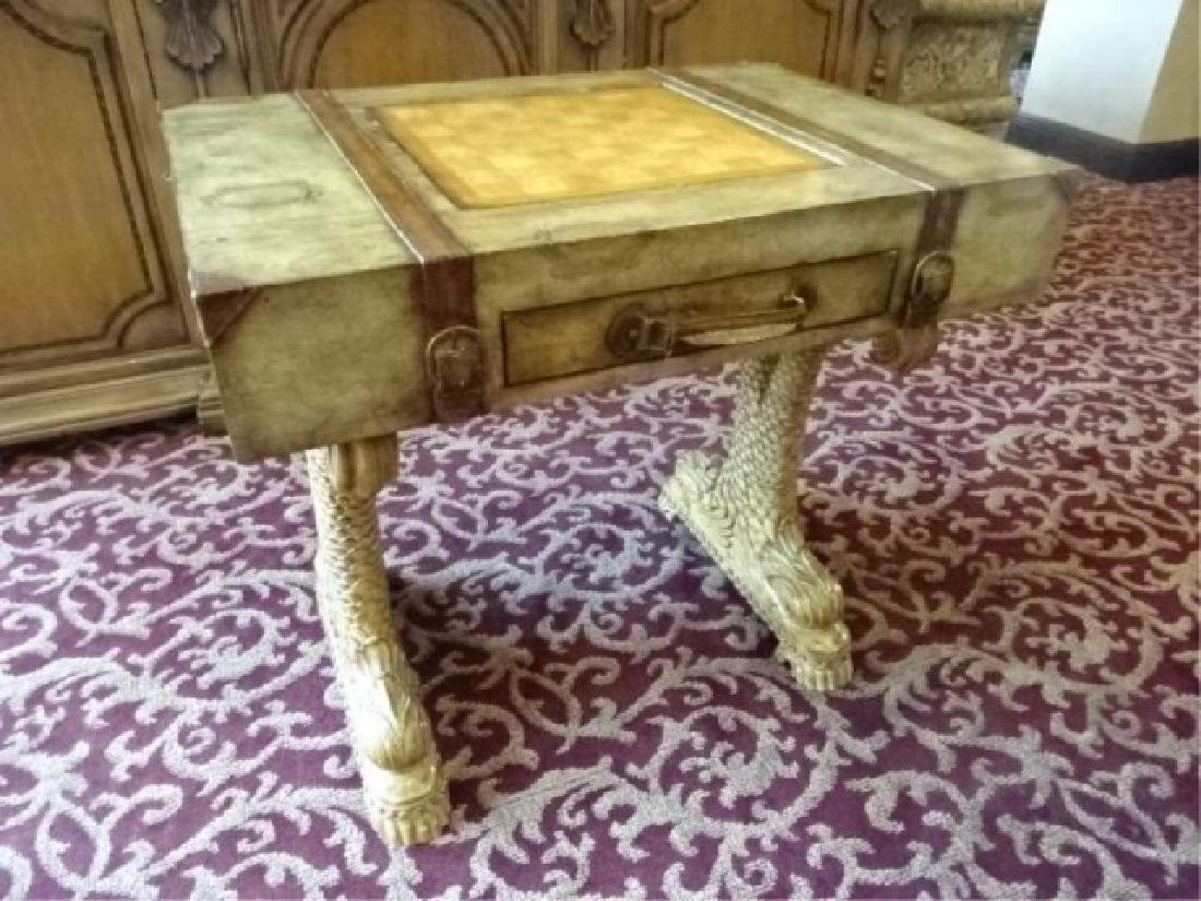 WOOD GAME TABLE, CLASSICAL DOLPHIN LEGS, SUITCASE MOTIF - 3