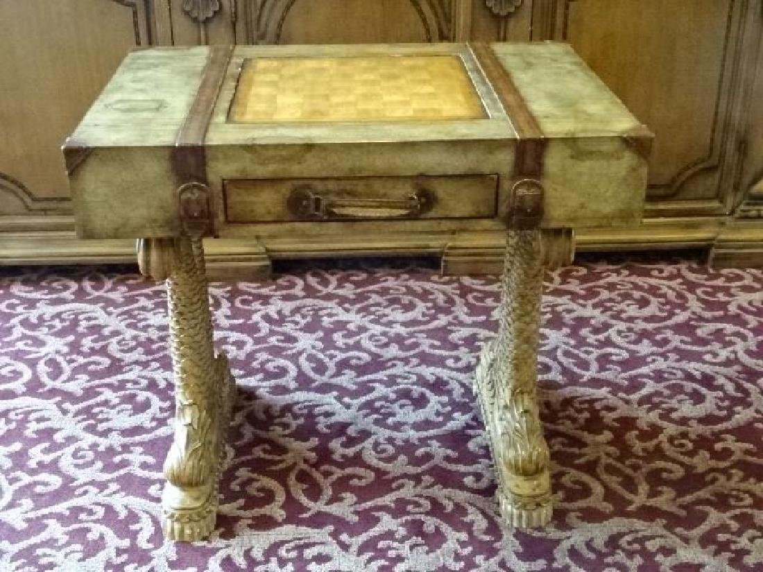 WOOD GAME TABLE, CLASSICAL DOLPHIN LEGS, SUITCASE MOTIF - 4