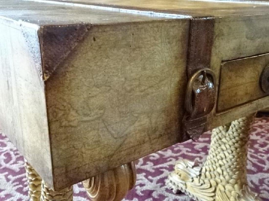 WOOD GAME TABLE, CLASSICAL DOLPHIN LEGS, SUITCASE MOTIF - 9