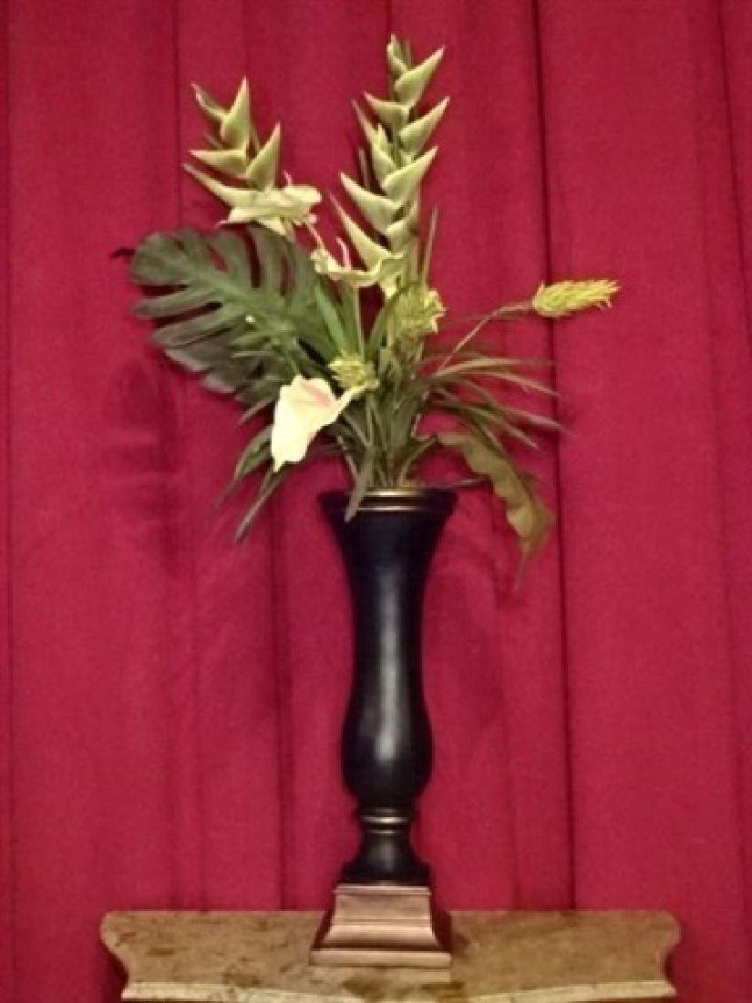 LARGE FAUX TROPICAL FOLIAGE ARRANGEMENT IN BLACK AND