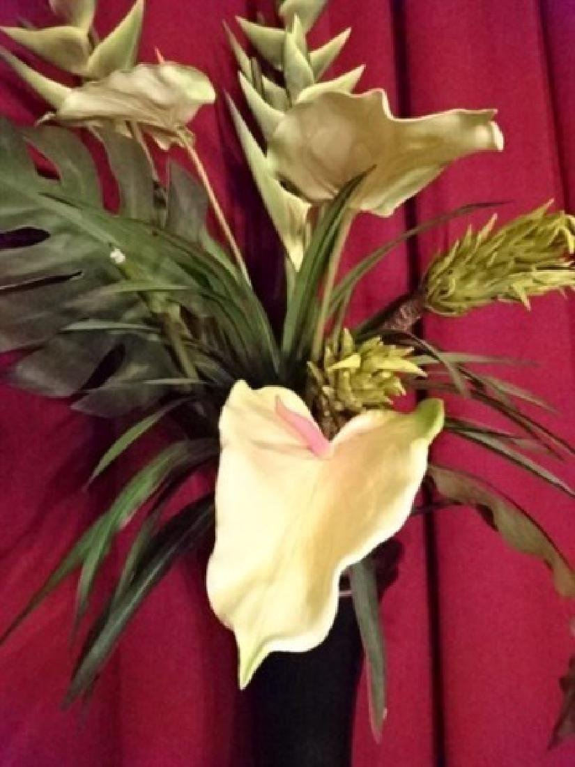 LARGE FAUX TROPICAL FOLIAGE ARRANGEMENT IN BLACK AND - 5