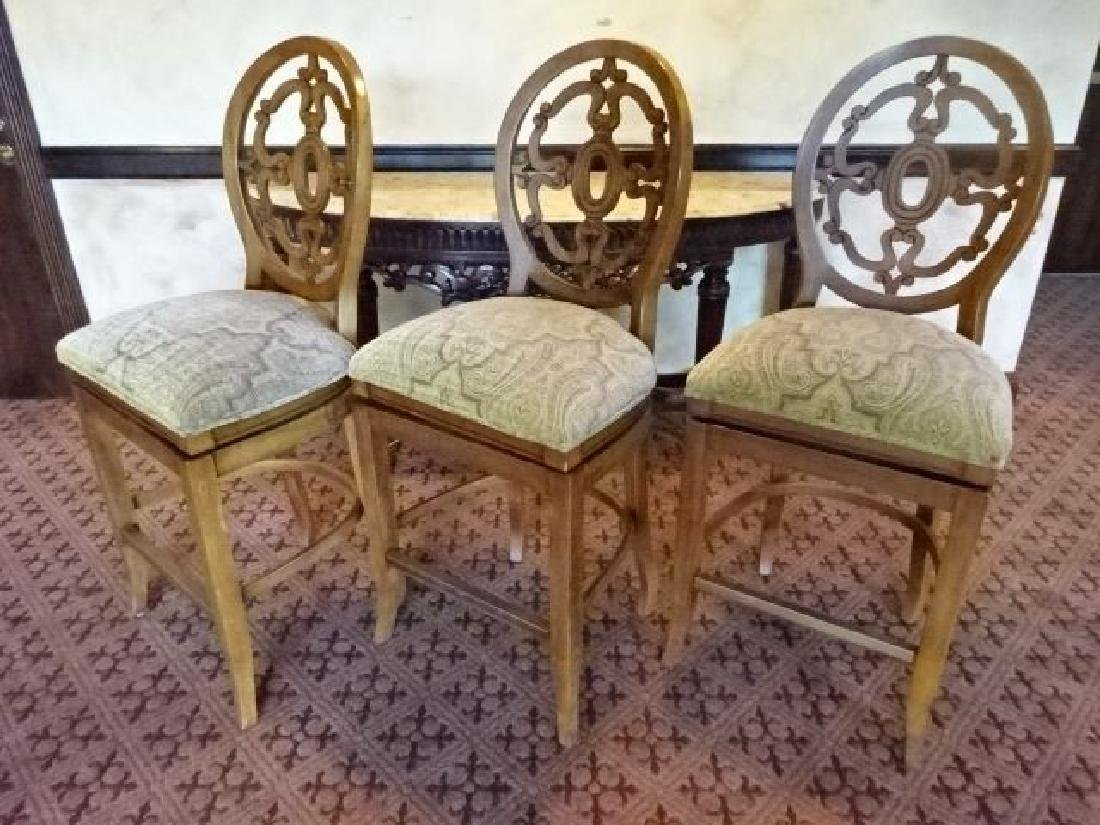 SET OF 3 OVAL BACK SWIVEL BARSTOOLS, BRASS FOOTRAIL,