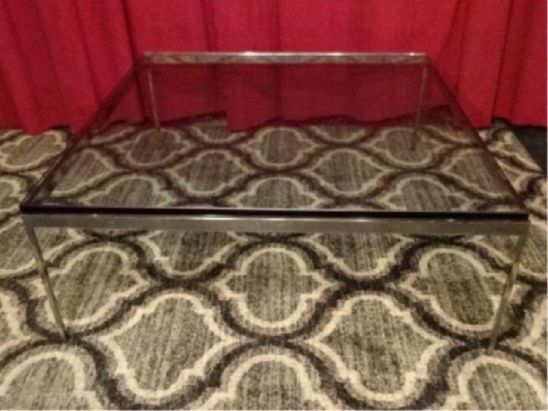 MID CENTURY CHROME STEEL COFFEE TABLE, FLORENCE KNOLL - 2