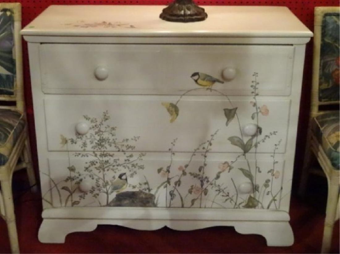 3 DRAWER CHEST WITH PAINTED BIRDS AND TREES, WHITE