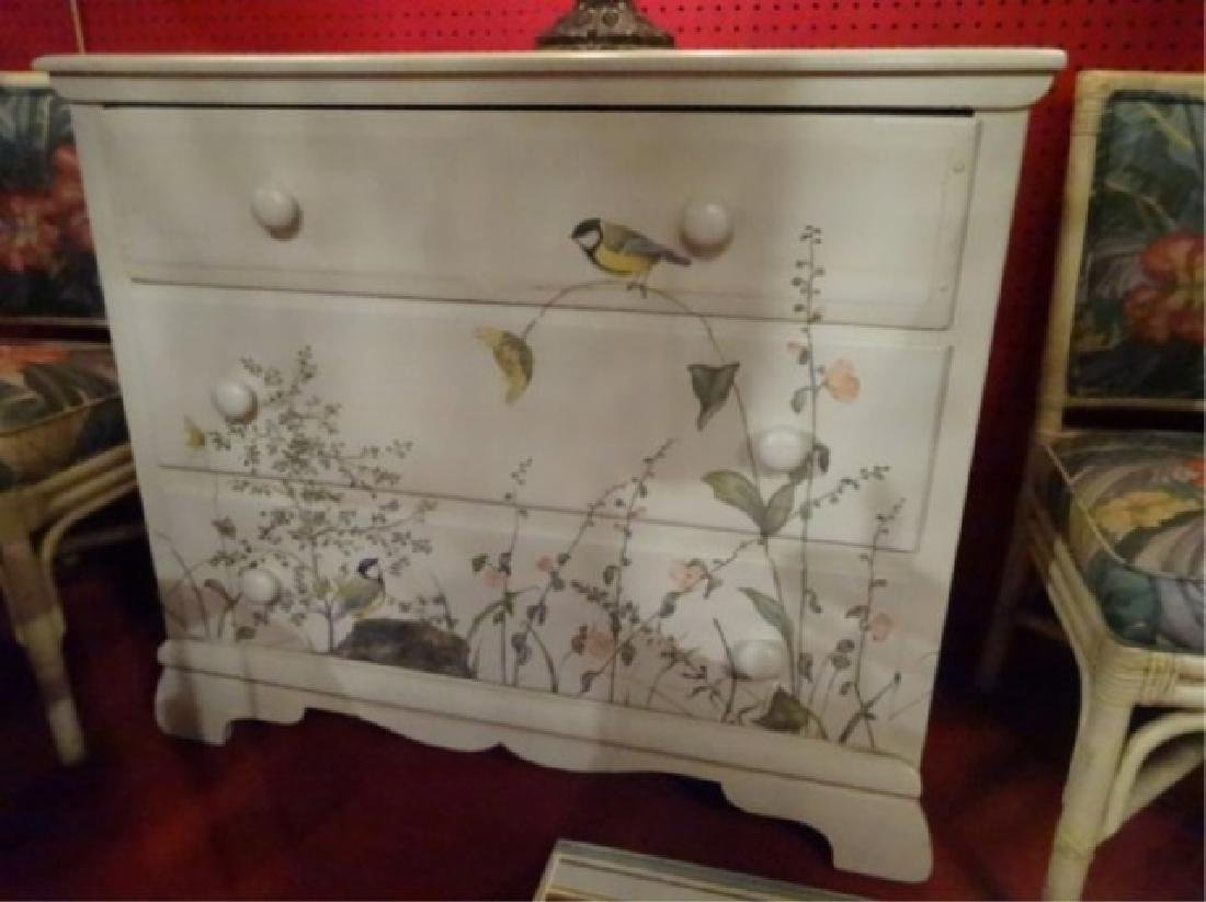 3 DRAWER CHEST WITH PAINTED BIRDS AND TREES, WHITE - 2