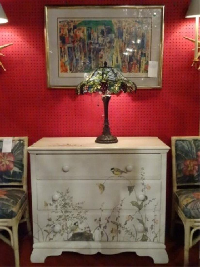 3 DRAWER CHEST WITH PAINTED BIRDS AND TREES, WHITE - 3