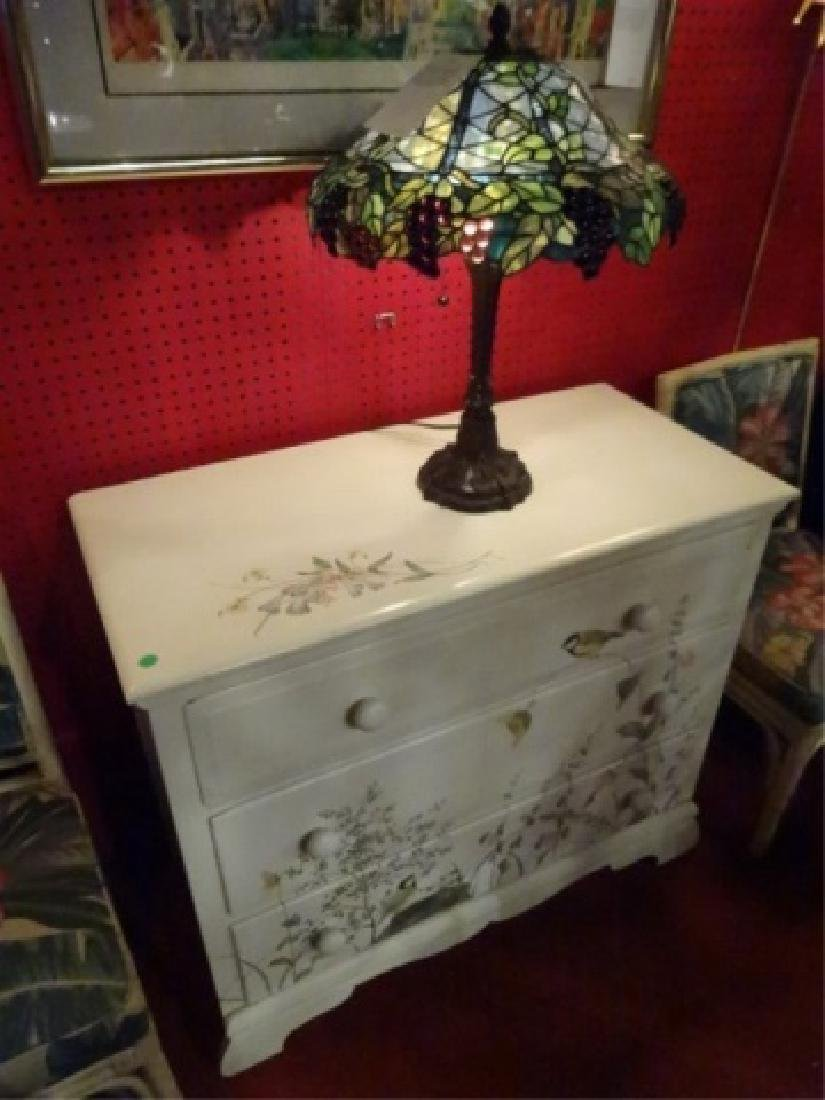 3 DRAWER CHEST WITH PAINTED BIRDS AND TREES, WHITE - 6