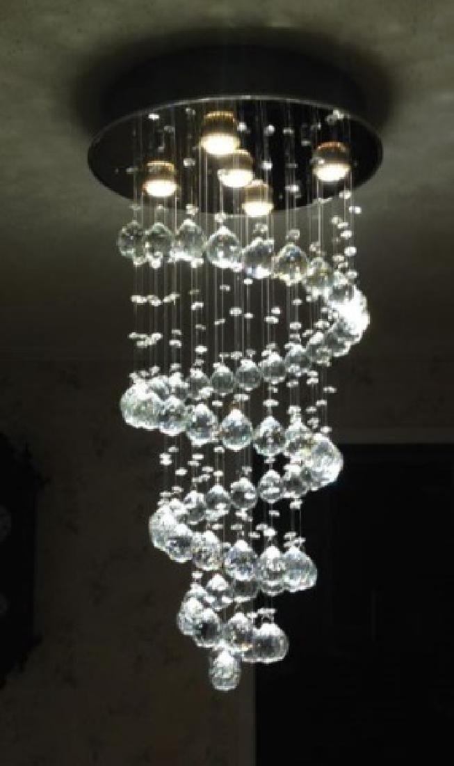 MODERN CHANDELIER, RAIN DROP HELIX WITH CRYSTAL BALLS, - 2
