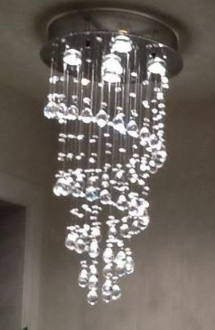 MODERN CHANDELIER, RAIN DROP HELIX WITH CRYSTAL BALLS, - 3