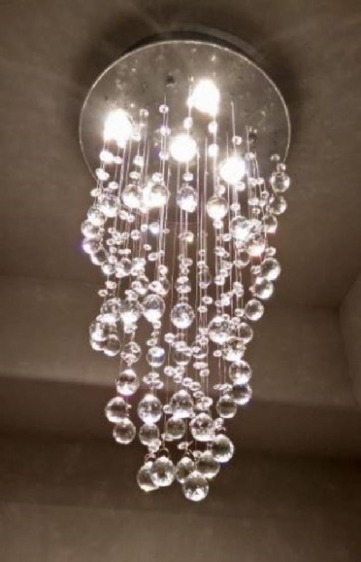 MODERN CHANDELIER, RAIN DROP HELIX WITH CRYSTAL BALLS, - 6