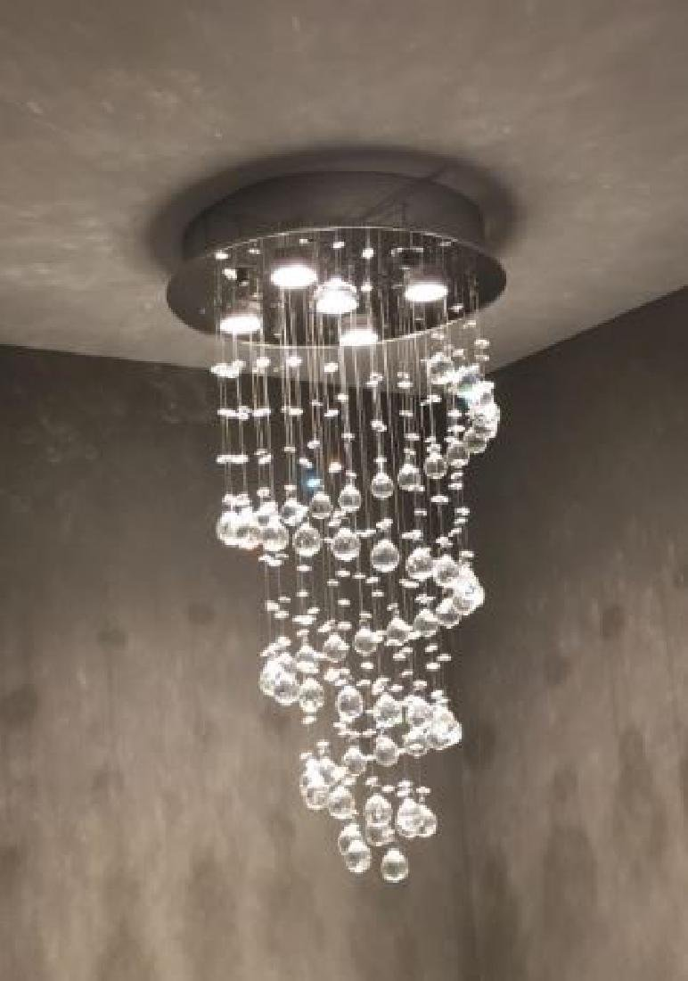 MODERN CHANDELIER, RAIN DROP HELIX WITH CRYSTAL BALLS, - 7