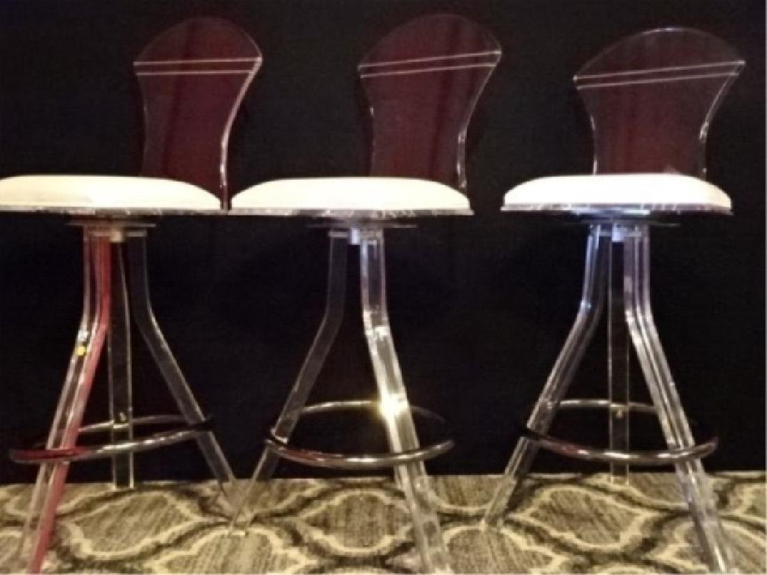 3 CLEAR LUCITE AND CHROME BARSTOOLS, LUCITE FRAMES WITH