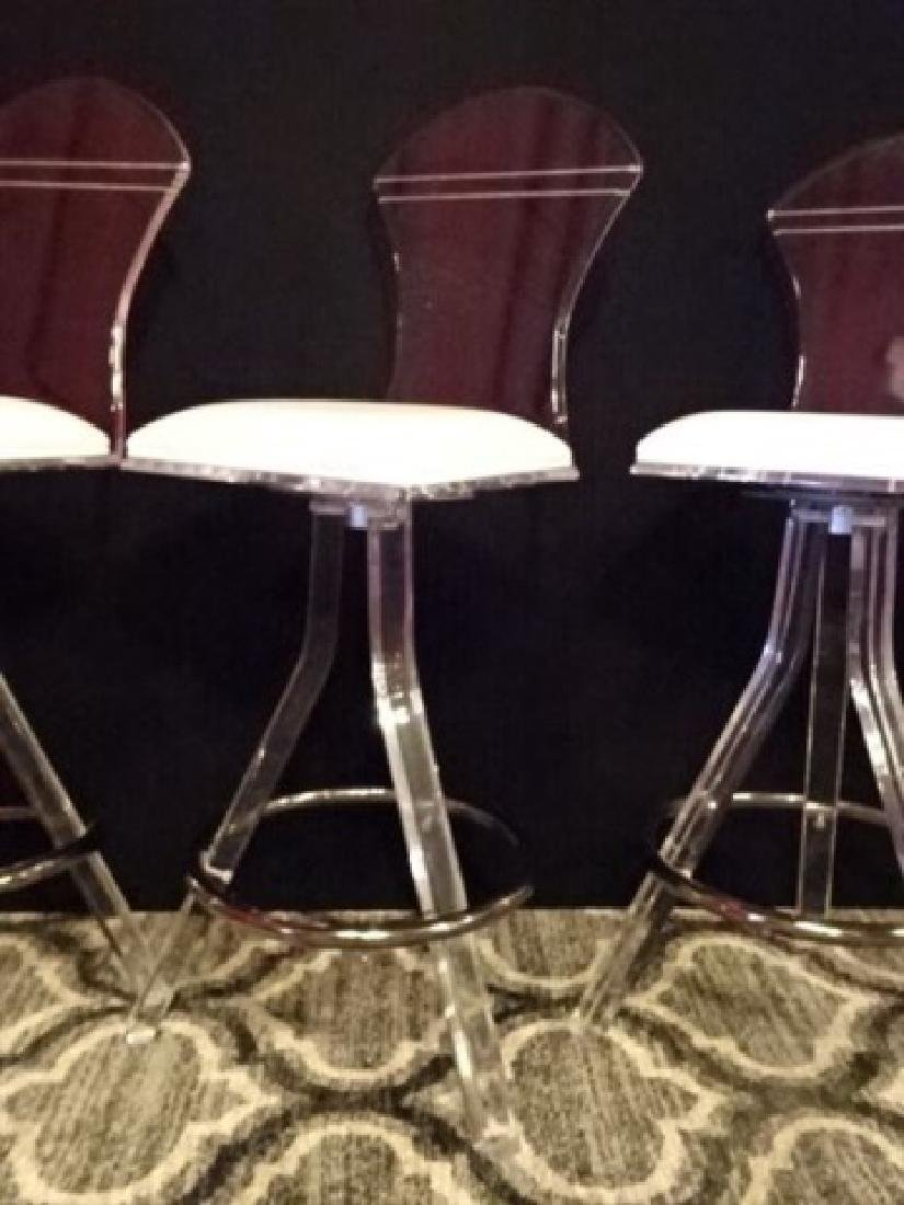 3 CLEAR LUCITE AND CHROME BARSTOOLS, LUCITE FRAMES WITH - 2
