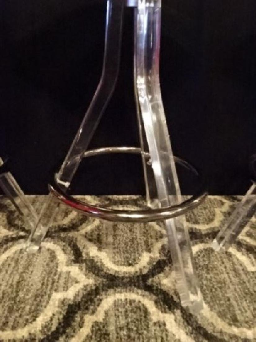 3 CLEAR LUCITE AND CHROME BARSTOOLS, LUCITE FRAMES WITH - 4