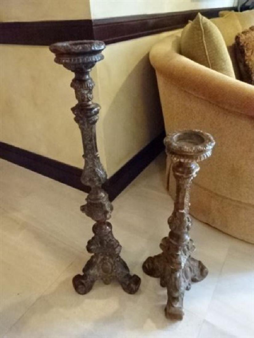 """PAIR ORNATE FLOOR CANDLE STICKS, LARGEST IS 37""""H,"""