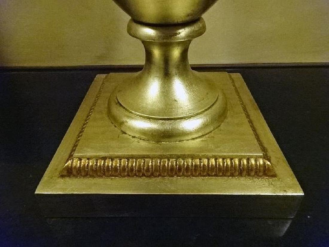 SILVER AND GOLD FINISH URN WITH LID, RAMS HEAD HANDLES, - 3