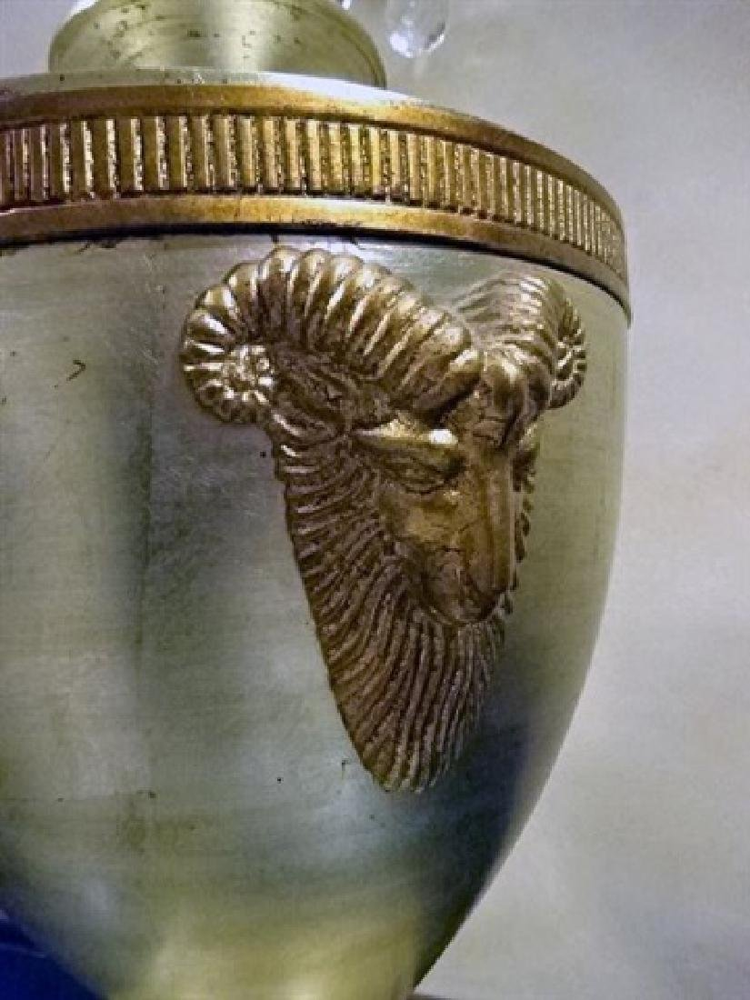SILVER AND GOLD FINISH URN WITH LID, RAMS HEAD HANDLES, - 4