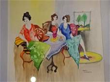 ITZCHAK TARKAY WATERCOLOR PAINTING 3 LADIES SIGNED