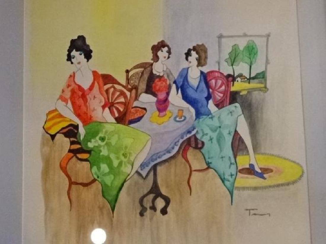 ITZCHAK TARKAY WATERCOLOR PAINTING, 3 LADIES, SIGNED