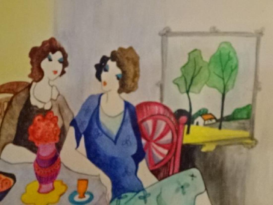 ITZCHAK TARKAY WATERCOLOR PAINTING, 3 LADIES, SIGNED - 5