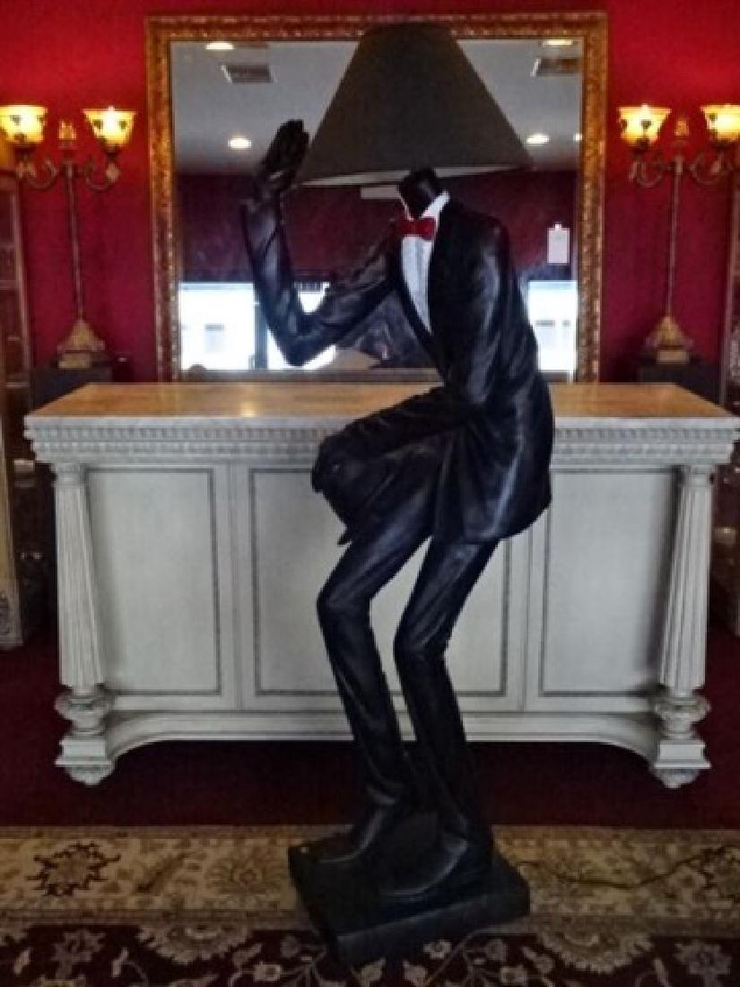 LIFESIZE FIGURAL FLOOR LAMP, MAN IN TUXEDO, PAINTED